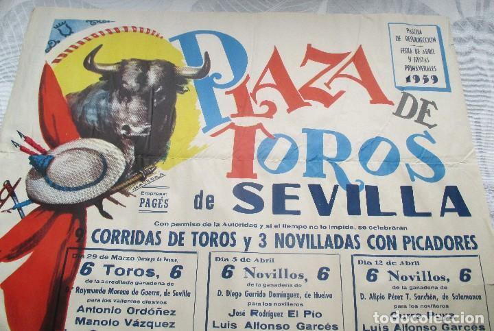 Carteles Toros: CARTEL ORIGINAL TOROS SEVILLA FERIA ABRIL 1959 - Foto 2 - 163992232