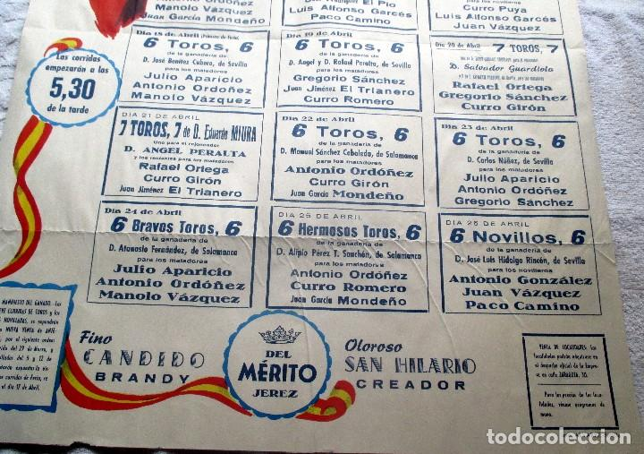 Carteles Toros: CARTEL ORIGINAL TOROS SEVILLA FERIA ABRIL 1959 - Foto 3 - 163992232