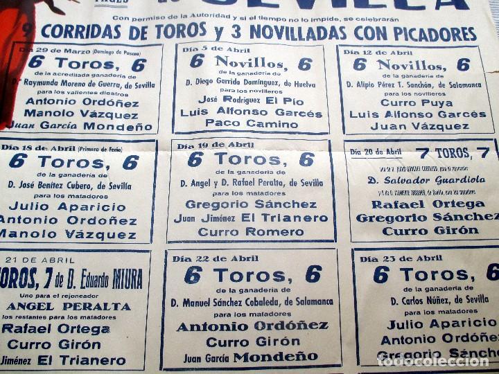 Carteles Toros: CARTEL ORIGINAL TOROS SEVILLA FERIA ABRIL 1959 - Foto 4 - 163992232