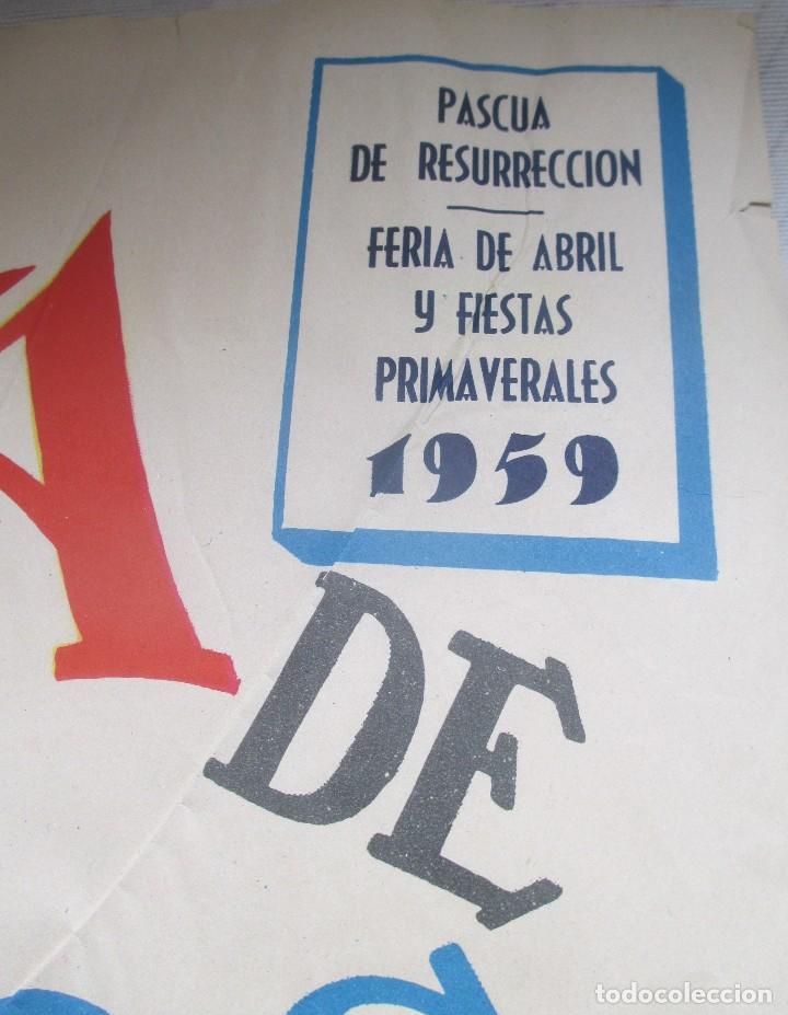 Carteles Toros: CARTEL ORIGINAL TOROS SEVILLA FERIA ABRIL 1959 - Foto 5 - 163992232