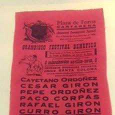 Carteles Toros: CARTEL TOROS SEDA ROJA PLAZA CARTAGENA. 8 DIC 1956. 43X22 CM FESTIVAL BENEFICO ORDOÑEZ, GIRON CORPAS. Lote 86393204