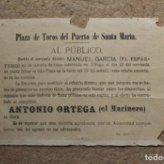 Affissi Tauromachia: CARTEL DE TOROS DEL PUERTO DE SANTA MARÍA. ANUNCIO DE SUTITUCIÓN DE EL ESPARTERO POR EL MARINERO. Lote 86563324
