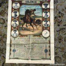 Carteles Toros: IMPORTANTE CARTEL DE TOROS DEL AÑO 1923 EN VALENCIA GALLO, CHICUELO Y M. LALANDA. Lote 86874796