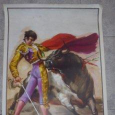 Carteles Toros: CARTEL DE TOROS. PINTADO POR JOSE CROS ESTREMS. ORTEGA, VALENCIA. 1977. 106 X 54 CM. Lote 86920472