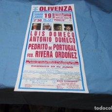 Carteles Toros: CARTEL PLAZA TOROS DE OLIVENZA 19 JUNIO 1993 HERMANOS DOMECP. Lote 87076532