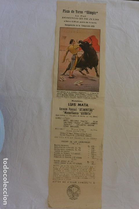 CARTEL TOROS PLAZA TOROS OLIMPIC LA PAZ (BOLIVIA) 23 JULIO 1950 (Coleccionismo - Carteles Gran Formato - Carteles Toros)
