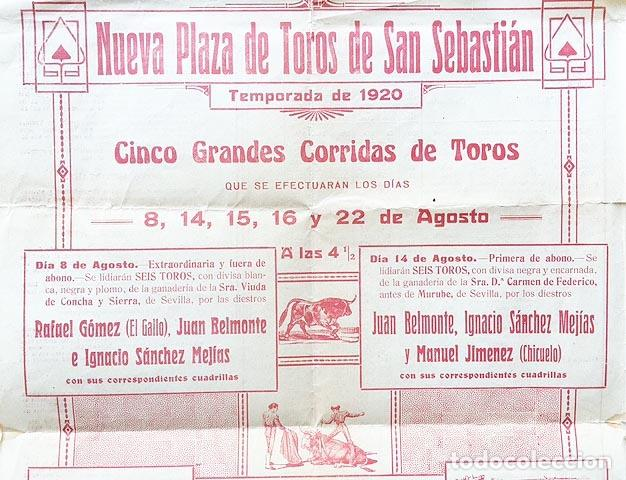 Cartel  Nueva Plaza de Toros de San Sebastián  1920  El Gallo