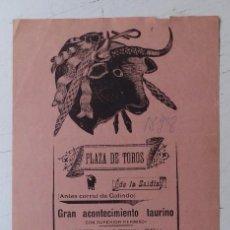 Carteles Toros: CARTEL DE TOROS - PLAZA DE TOROS DE LA ZAIDIA DE VALENCIA - OCTUBRE DE 1898. Lote 88148964
