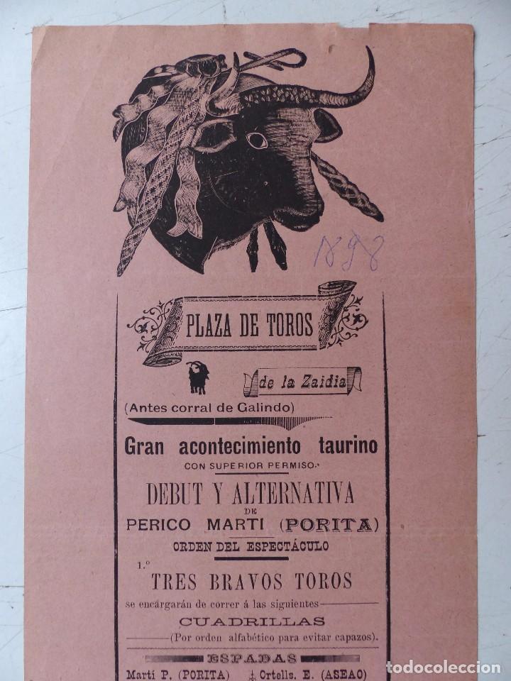 Carteles Toros: Cartel de Toros - PLAZA DE TOROS DE LA ZAIDIA DE VALENCIA - OCTUBRE DE 1898 - Foto 2 - 88148964