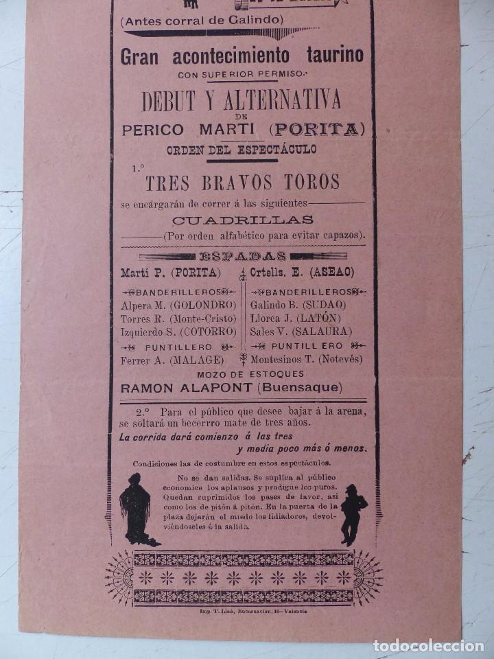 Carteles Toros: Cartel de Toros - PLAZA DE TOROS DE LA ZAIDIA DE VALENCIA - OCTUBRE DE 1898 - Foto 3 - 88148964