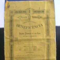 Carteles Toros: PLAZA DE TOROS DE MADRID.CORRIDA EXTRAORDINARIA D BENEFICENCIA A FAVOR DEL HOSPITAL DE LA CORTE.1886. Lote 88158876