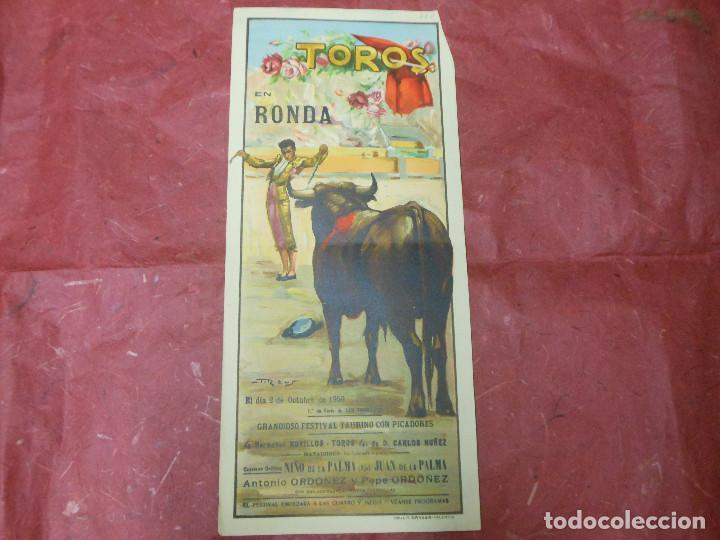 1950 CARTEL DE TOROS DE RONDA MALAGA ILUSTRADO POR REUS - ANTONIO Y PEPE ORDOÑEZ - DE LA PALMA (Coleccionismo - Carteles Gran Formato - Carteles Toros)