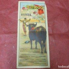 Carteles Toros: 1950 CARTEL DE TOROS DE RONDA MALAGA ILUSTRADO POR REUS - ANTONIO Y PEPE ORDOÑEZ - DE LA PALMA. Lote 90044232