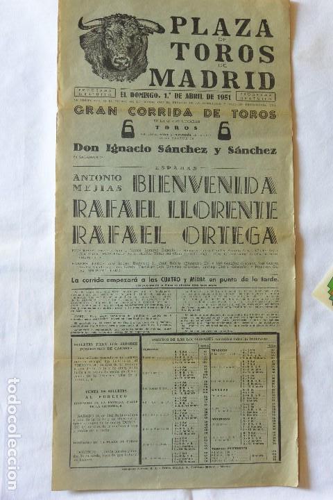 CARTEL TOROS PLAZA TOROS MADRID 1951 (Coleccionismo - Carteles Gran Formato - Carteles Toros)