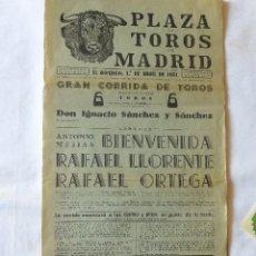 Carteles Toros: CARTEL TOROS PLAZA TOROS MADRID 1951. Lote 91639490