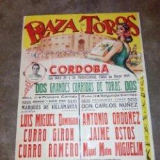 Carteles Toros: CARTEL DE TOROS PLAZA DE CORDOBA MAYO 1959 JAIME OSTOS, ANTONIO ORDOÑEZ 80 CMS. ALTO X 56 LARGO . Lote 113296232