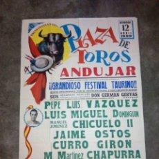 Carteles Toros: CARTEL DE TOROS PLAZA DE ANDUJAR ABRIL 1959 JAIME OSTOS, PEPE LUIS VAZQUEZ 80 CMS. ALTO X 56 LARGO . Lote 92210160