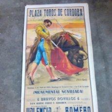 Carteles Toros: CARTEL DE TOROS PLAZA DE CORDOBA ABRIL 1958 CURRO ROMERO, ETC... 1 METRO Y 7 CMS. ALTO X 54 LARGO . Lote 113296242