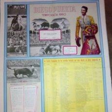 Carteles Toros: CARTEL DE TOROS DIEGO PUERTA CUADRO ESTADISTICO DE SU TEMPORADA DE 1960 DE 70 CMS. ALTO . Lote 92390910