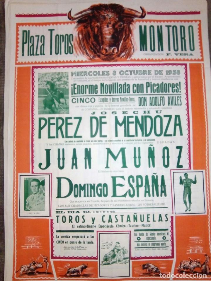 CARTEL DE TOROS PLAZA DE MONTORO OCTUBRE 1958 DOMINGO ESPAÑA, ETC...70 CMS. DE ALTO X 50 DE LARGO (Coleccionismo - Carteles Gran Formato - Carteles Toros)