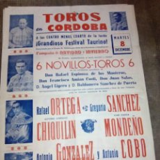 Carteles Toros: CARTEL DE TOROS PLAZA DE CORDOBA 8 DICIEMBRE ¿1959-1960? 90 CMS. DE ALTO X 45 DE LARGO. Lote 92414985