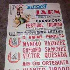 Carteles Toros: CARTEL DE TOROS PLAZA DE JAEN 8 DICIEMBRE 1970 MANOLO VAZQUEZ 64 CMS. DE ALTO X 43 DE LARGO . Lote 92417065