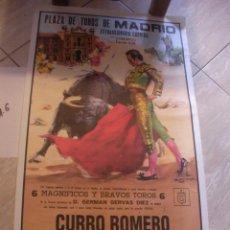 Carteles Toros: ANTIGUO CARTEL CORRIDA PLAZA DE TOROS DE MADRID - CURRO ROMERO, ANTONIO BONILLA Y JOSE ORTEGA CANO. Lote 93399220