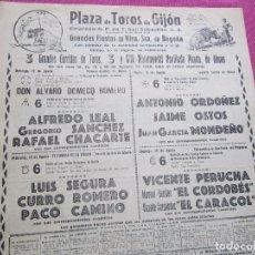 Carteles Toros: CARTEL DE TOROS EN GIJON EL CORDOBES ANTONIO ORDOÑEZ CURRO ROMERO 1962. Lote 94062250