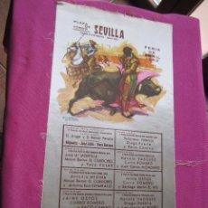 Carteles Toros: CARTEL DE TOROS DE TELA FERIA DE ABRIL 1962 SEVILLA CURRO ROMERO EL CORDOBES MIGUELIN OSTOS 28 X 50. Lote 94064155