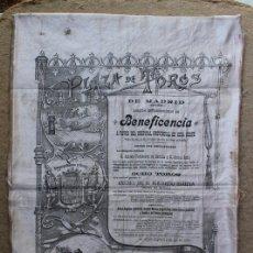 Carteles Toros: CARTEL DE TOROS DE MADRID. BENEFICENCIA. 28 DE OCTUBRE DE 1898. TORERITO, LAGARTIJILLO, BOMBITA.. Lote 94382210