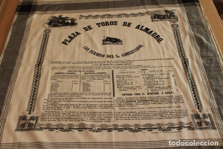 CARTEL DE TOROS DE ALMAGRO EN SEDA. 24 Y 25 DE AGOSTO DE 1861. MANUEL DOMÍNGUEZ Y EL AMERICANO. (Coleccionismo - Carteles Gran Formato - Carteles Toros)