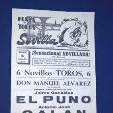 Carteles Toros: CARTEL PLAZA DE TOROS DE SEVILLA – 6 JUNIO 1970 MEDIDAS 42X20 CM.. Lote 94607595