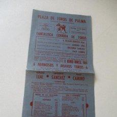 Carteles Toros: PEQUEÑO CARTEL DE: PLAZA DE TOROS DE PALMA- 17 DE JUNIO DE 1962-31X14.5 CM. Lote 94927727