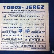 Carteles Toros: CARTEL TOROS EN JEREZ, FERIA DE MAYO 1960 – MEDIDAS 21X22 CM.. Lote 95313811