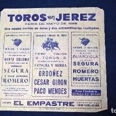 Carteles Toros: CARTEL TOROS EN JEREZ, FERIA DE MAYO 1955 – MEDIDAS 21X22 CM.. Lote 95313871