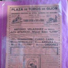 Carteles Toros: CARTEL DE TOROS ARRUZA DOMINGUIN LITRI PLAZA DE GIJON 1951 DE 31 X 44 CM.. Lote 95704355