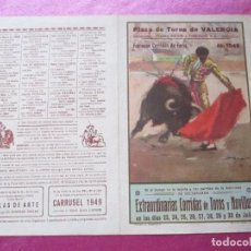 Carteles Toros: CARTEL TOROS CALERITO EL CHONI PARRITA AÑO 1949 PLAZA DE VALENCIA. Lote 95733755