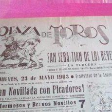 Carteles Toros: CARTEL PLAZA DE TOROS SAN SEBASTIAN DE LOS REYES CALLEJA BATAN JOSE ORTAS MORENITO 1963. Lote 96498171