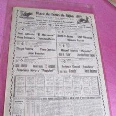 Carteles Toros: CARTEL TOROS GIJON EL MACARENO B.BELMONTE CAMINO PAQUIRRI Y OTROS AÑO 1968. Lote 96505483