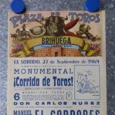 Carteles Toros: BRIHUEGA (GUADALAJARA) - CARTEL TOROS AÑO 1969 - MANUEL BENITEZ EL CORDOBES, PALOMO LINARES. Lote 176161309