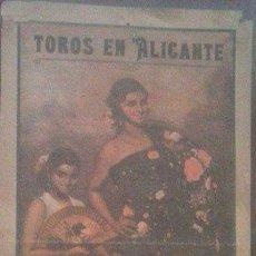 Carteles Toros: CARTEL TOROS PLAZA ALICANTE AÑO 1936. Lote 97484903