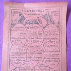 Carteles Toros: CARTEL TOROS, PLAZA VALENCIA, 1924, FERIA JULIO, MEJIAS, LALANDA, OLMOS, VILLALTA, ZURITO, LITR, CT9. Lote 97606935