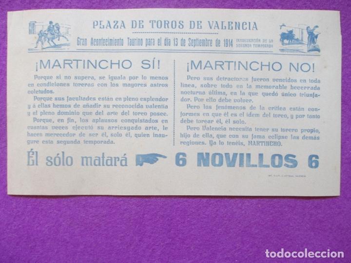 CARTEL TOROS, PLAZA VALENCIA, 1914, MARTINCHO, CT44 (Coleccionismo - Carteles Gran Formato - Carteles Toros)