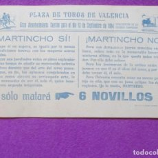 Carteles Toros: CARTEL TOROS, PLAZA VALENCIA, 1914, MARTINCHO, CT44. Lote 97646311