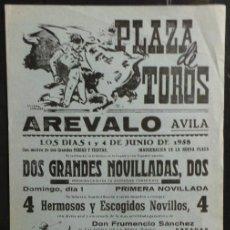 Carteles Toros: CARTEL PLAZA DE TOROS DE AREVALO - AVILA - 1958. Lote 97732711