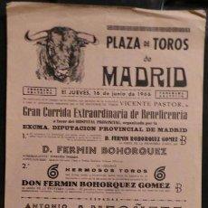 Carteles Toros: CARTEL PLAZA DE TOROS DE MADRID - 1966. Lote 97732787
