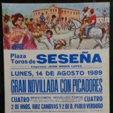 Carteles Toros: CARTEL PLAZA DE TOROS DE SESEÑA - 1989. Lote 97733019