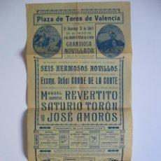 Carteles Toros: CARTEL TAURINO PLAZA DE TOROS DE VALENCIA GRANDIOSA NOVILLADA 1930.. Lote 98340983