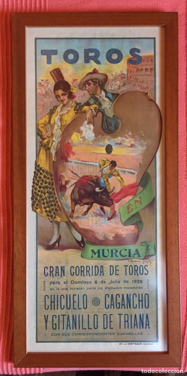 CARTEL DE TOROS- MURCIA 1.928 RUANO LLOPIS- ENMARCADO (Coleccionismo - Carteles Gran Formato - Carteles Toros)