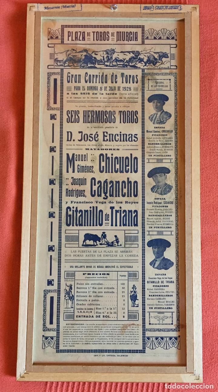 Carteles Toros: CARTEL DE TOROS- MURCIA 1.928 RUANO LLOPIS- ENMARCADO - Foto 2 - 99639939